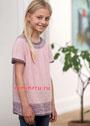 Для девочки 6-12 лет. Розово-лиловая туника с жаккардовой каймой. Спицы