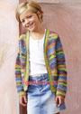 Для девочки 6-13 лет. Разноцветный хлопковый жакет в полоску. Крючок