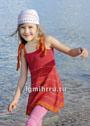 Для девочки 2-8 лет. Летний сарафан в красных тонах. Спицы