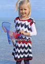 Для девочки 1,5-9 лет. Трехцветное летнее платье с зигзагами. Спицы