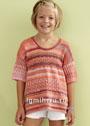 Для девочки 8-13 лет. Летний пуловер в красных тонах. Спицы