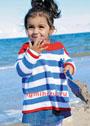 Для девочки 1,5-7 лет. Расклешенный хлопковый пуловер в морском стиле. Спицы