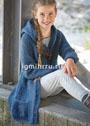 Для девочки 9-12 лет. Теплый кардиган с капюшоном, карманами и навесными застежками. Спицы