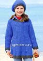 Для девочки 4-10 лет. Шерстяной комплект синего цвета: удлиненный пуловер и шапочка. Спицы