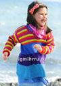 Для девочки 1,5-7 лет. Шерстяная туника с разноцветными полосками. Спицы