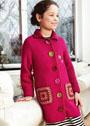 Для девочки 4-10 лет. Пальто с накладными карманами и вязаными цветами. Спицы и крючок