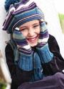 Для девочки 2-12 лет. Берет, шарф и варежки в полоску. Спицы
