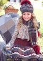 Для девочки 5-11 лет. Теплый комплект из юбки, шапочки и шарфа. Спицы