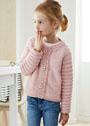 Для девочки 3-13 лет. Розовый жакет с рукавами реглан. Спицы