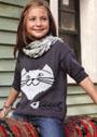 Детский пуловер с Чеширским котом. Спицы