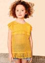 Для девочки 4-12 лет. Желтый летний топ с ажурной сеткой. Крючок