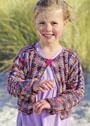 Для девочки 2-8 лет. Жакет из пестрой меланжевой пряжи. Спицы