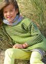 Для девочки 4-10 лет. Туника с полосками и жемчужным узором. Спицы