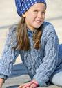 Для девочки 3-9 лет. Хлопковый пуловер с крупными косами. Спицы