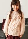 Для девочки 2-8 лет. Кремовый пуловер с рельефными узорами. Спицы