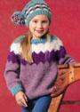 Для девочки 3-9 лет. Теплый пуловер и шапочка с зигзагами. Спицы