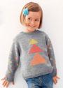 Для девочки 4-16 лет. Джемпер с жаккардовыми треугольниками. Спицы
