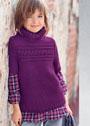 Для девочки 4-16 лет. Темно-лиловый свитер с поперечной косой. Спицы