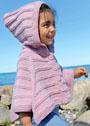 Для девочки 1,5-7 лет. Розовое теплое пончо на пуговицах и с капюшоном. Спицы