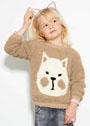 Для девочки 6-16 лет. Пуловер с мордочкой кота. Спицы