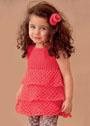 Для девочки 1-4 лет. Красное летнее платье с оборками и заколка. Спицы