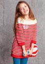 Для девочки 2-10 лет. Платье в красно-кремовую полоску. Спицы
