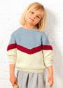 Для девочки 4-12 лет. Объемный трехцветный пуловер. Спицы