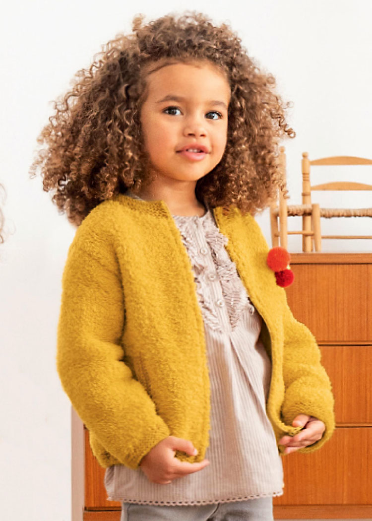 Для девочки 2-10 лет. Желтый жакет на застежке-молнии. Спицы