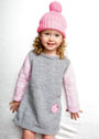 Для маленькой девочки. Серое платье с рукавами в полоску и розовая шапочка. Спицы