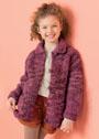 Для девочки 4-12 лет. Жакет с отложным воротником и карманами. Спицы