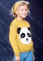 Для девочки 4-8 лет. Шерстяной пуловер с мотивом панды. Спицы