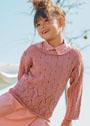Для девочки 4-12 лет. Розовый пуловер с фантазийными узорами. Спицы