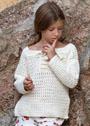 Для девочки 4-12 лет. Светлый пуловер с фантазийным узором. Крючок