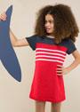 Для девочки 2-10 лет. Летнее двухцветное платье с контрастными полосками. Спицы