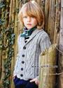 Серый шерстяной жакет с косами для мальчика 6-12 лет. Спицы