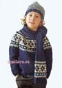 Теплый зимний комплект для мальчика: свитер, шапочка и шарф. Спицы