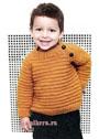 Пуловер цвета карри с поперечными рубчиками, для мальчика 1-4 лет. Спицы