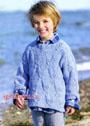 Голубой пуловер с косами, для мальчика. Спицы