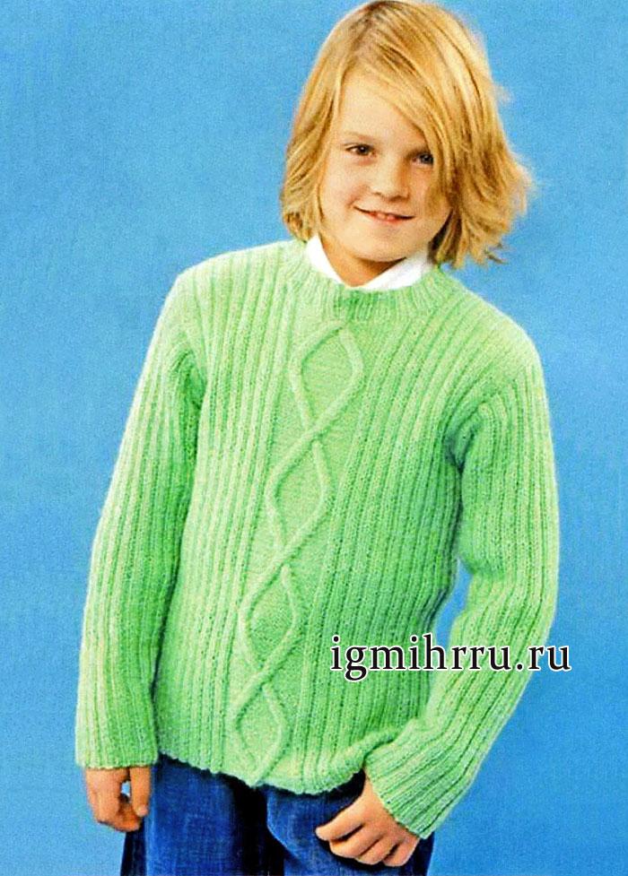 Зеленый шерстяной пуловер для мальчика 2-11 лет, от финских дизайнеров. Вязание спицами