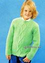Зеленый шерстяной пуловер для мальчика 2-11 лет. Спицы
