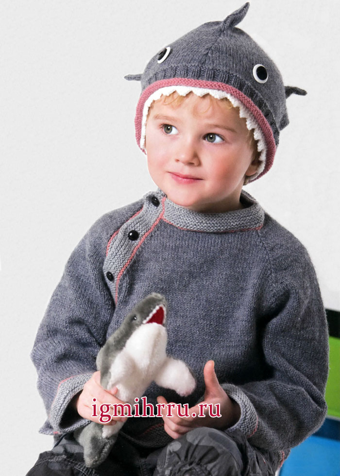 Шерстяной пуловер и шапка Акула для мальчика 1-4 лет. Вязание спицами