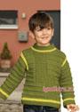 Пуловер фисташкового цвета со структурным узором, для мальчика 2-8 лет. Спицы