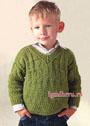 Теплый пуловер цвета хаки с рельефными узорами, для мальчика 3-х лет. Спицы