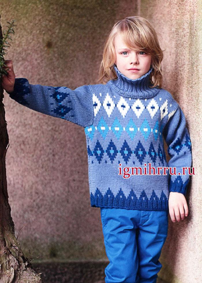 Шерстяной свитер с ромбами для мальчика 6-12 лет. Вязание спицами
