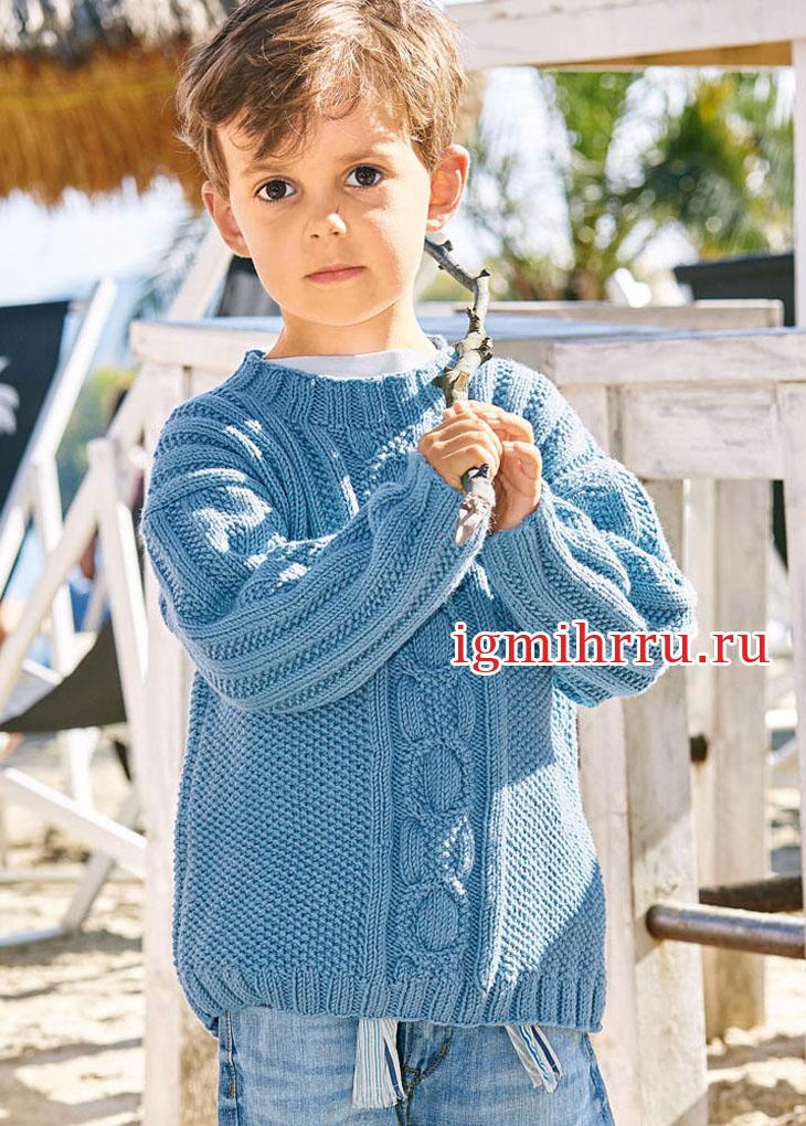 Летний деним. Голубой пуловер для мальчика 3-9 лет. Вязание спицами