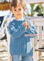 Летний деним. Голубой пуловер для мальчика 3-9 лет. Спицы