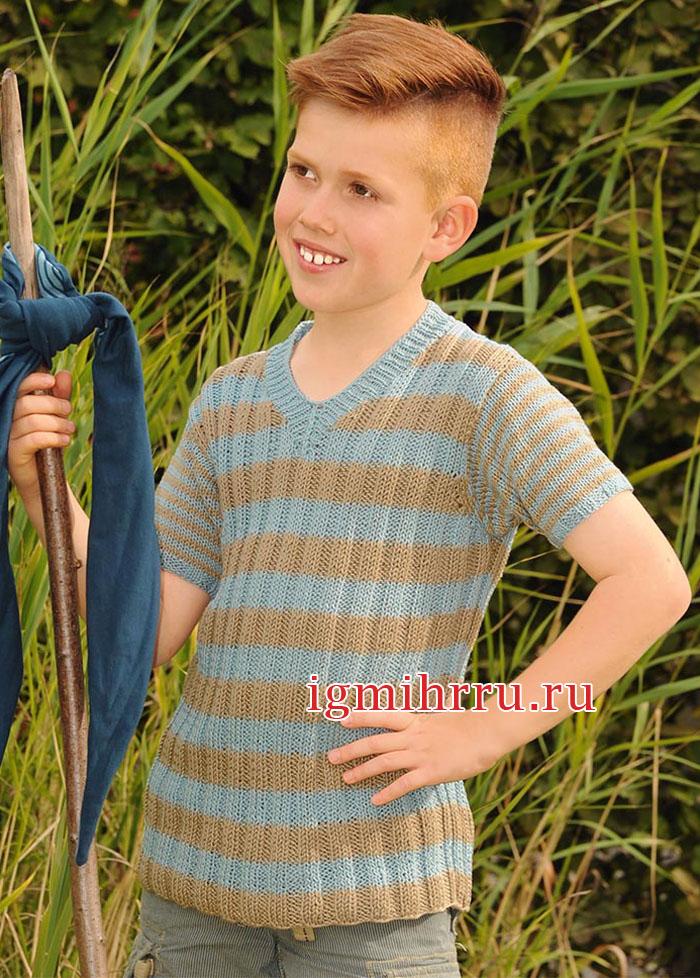 Для мальчика 4-10 лет. Летний пуловер в резинку, с короткими рукавами. Вязание спицами