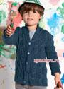 Для мальчика 3-11 лет. Синий теплый жакет с шалевым воротником. Спицы