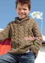 Для мальчика 7-13 лет. Пуловер с косами и шалевым воротником. Спицы