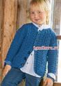 Синий жакет с косами для мальчика 4-10 лет. Спицы